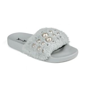 Fluff-08 Faux Pearl Women's Fuzzy Slip on Sandals